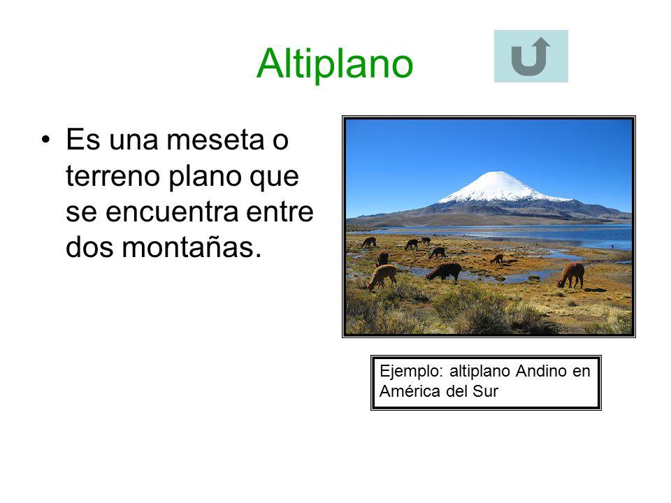 Altiplano Es una meseta o terreno plano que se encuentra entre dos montañas.