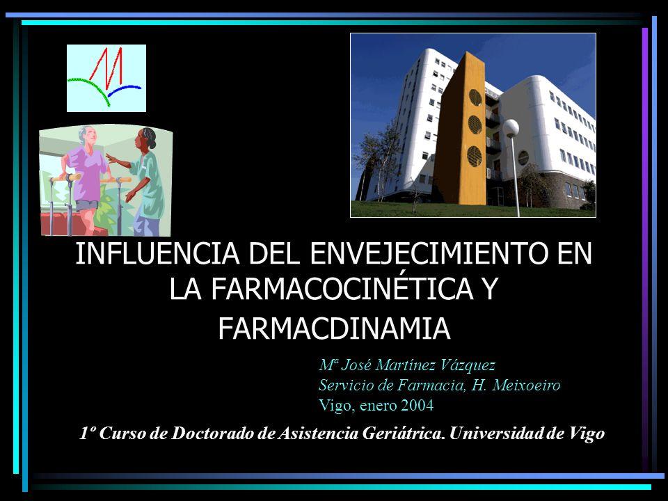 INFLUENCIA DEL ENVEJECIMIENTO EN LA FARMACOCINÉTICA Y FARMACDINAMIA