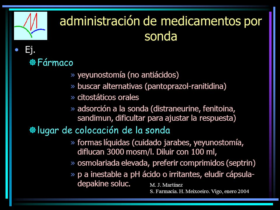 administración de medicamentos por sonda