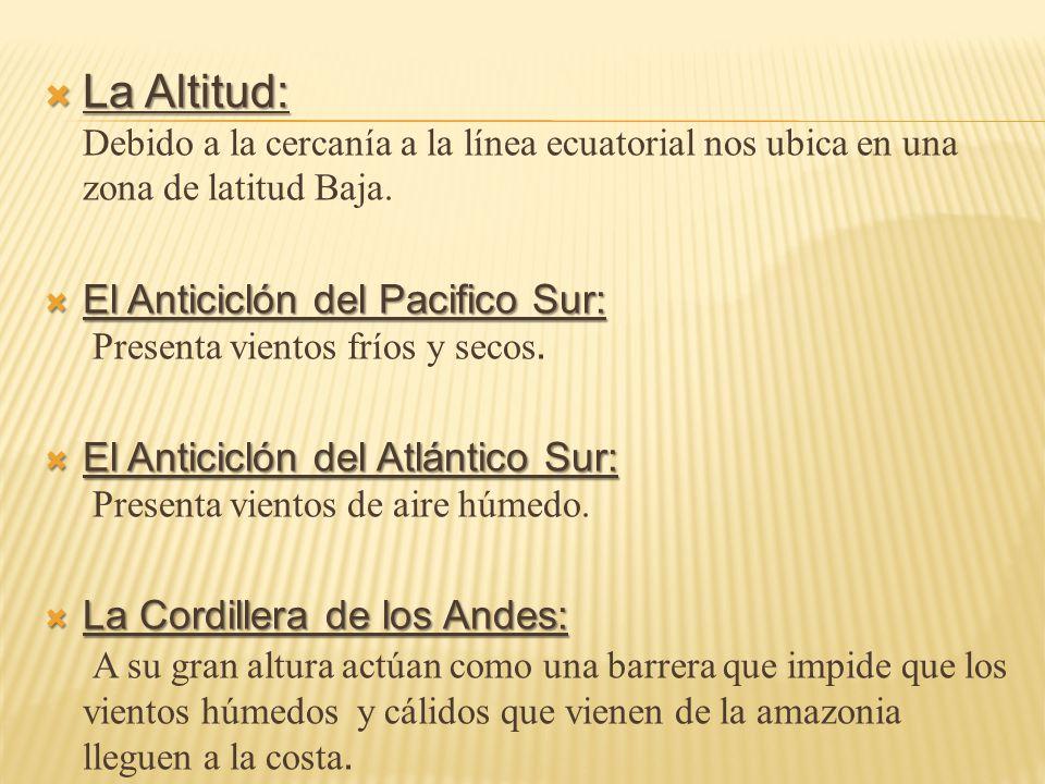 La Altitud: Debido a la cercanía a la línea ecuatorial nos ubica en una zona de latitud Baja.