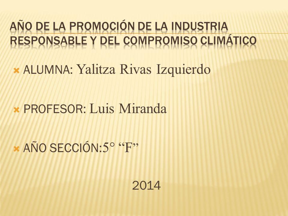 ALUMNA: Yalitza Rivas Izquierdo PROFESOR: Luis Miranda