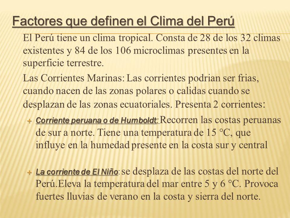 Factores que definen el Clima del Perú