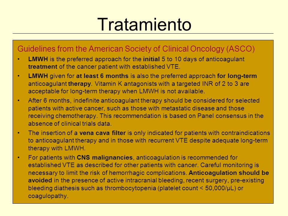 Tratamiento Guidelines from the American Society of Clinical Oncology (ASCO)