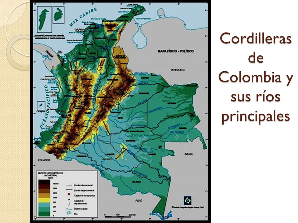 Cordilleras de Colombia y sus ríos principales
