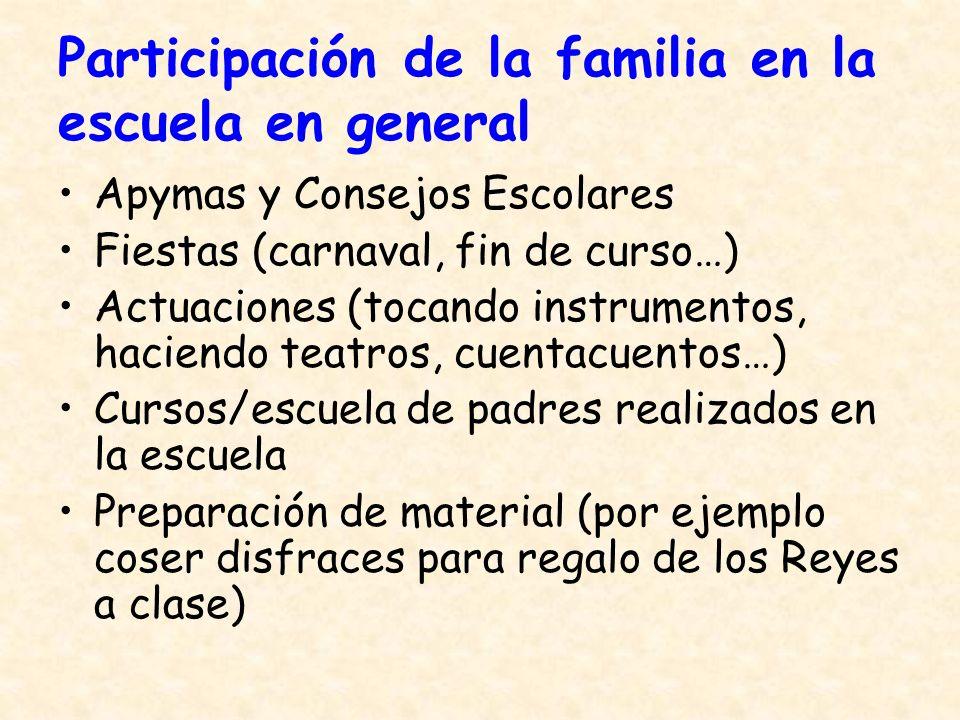 Participación de la familia en la escuela en general