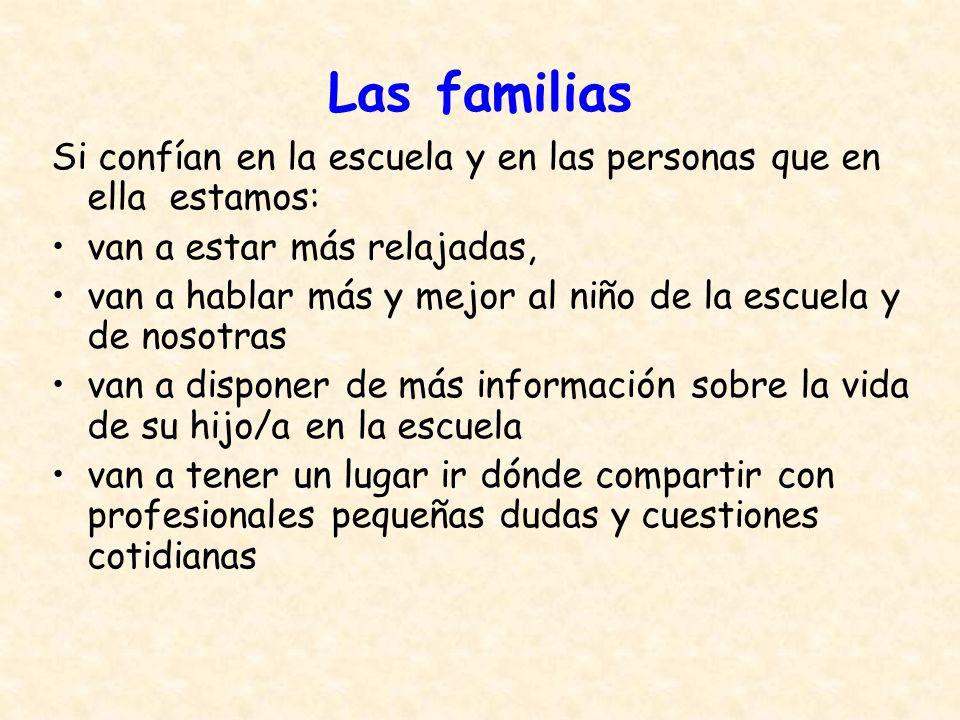Las familias Si confían en la escuela y en las personas que en ella estamos: van a estar más relajadas,