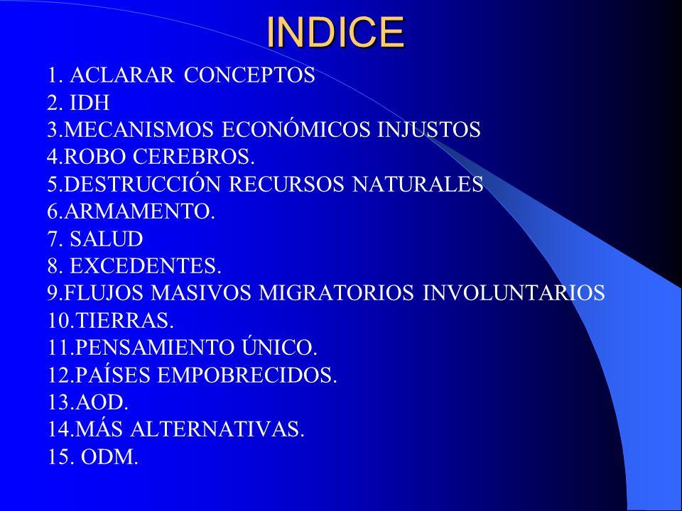 INDICE 1. ACLARAR CONCEPTOS 2. IDH 3.MECANISMOS ECONÓMICOS INJUSTOS