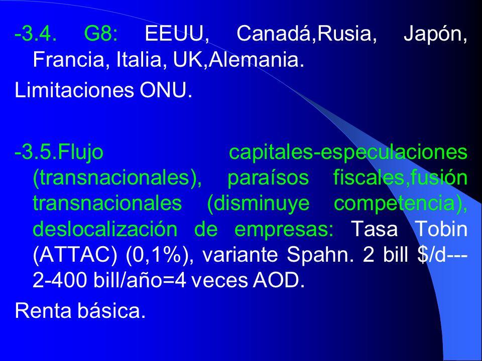 -3.4. G8: EEUU, Canadá,Rusia, Japón, Francia, Italia, UK,Alemania.