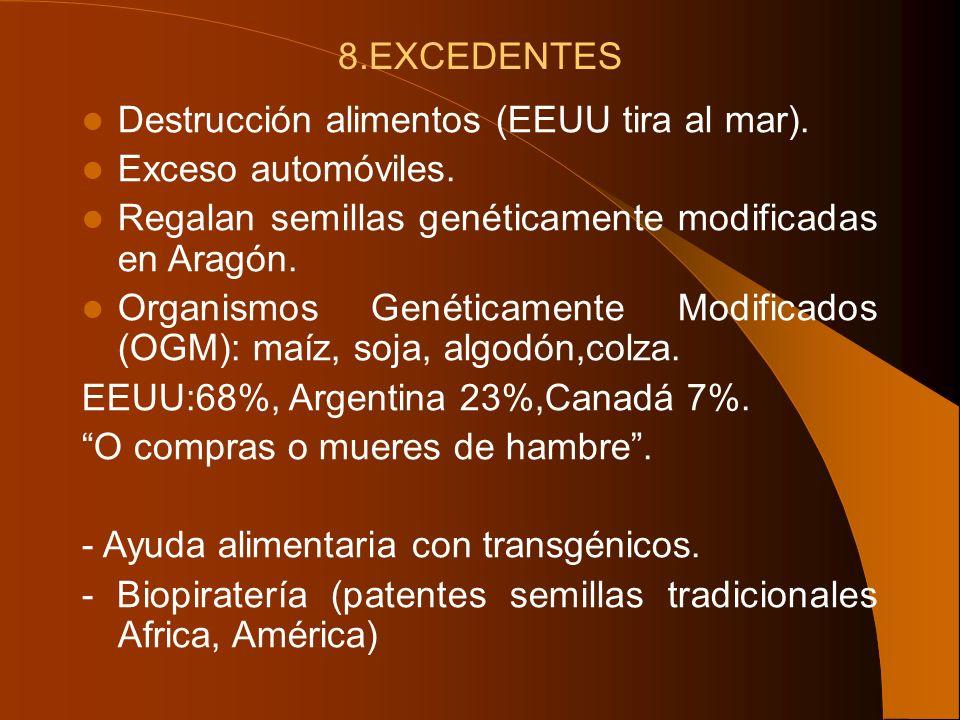8.EXCEDENTES Destrucción alimentos (EEUU tira al mar). Exceso automóviles. Regalan semillas genéticamente modificadas en Aragón.