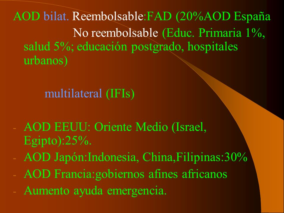 AOD bilat. Reembolsable:FAD (20%AOD España