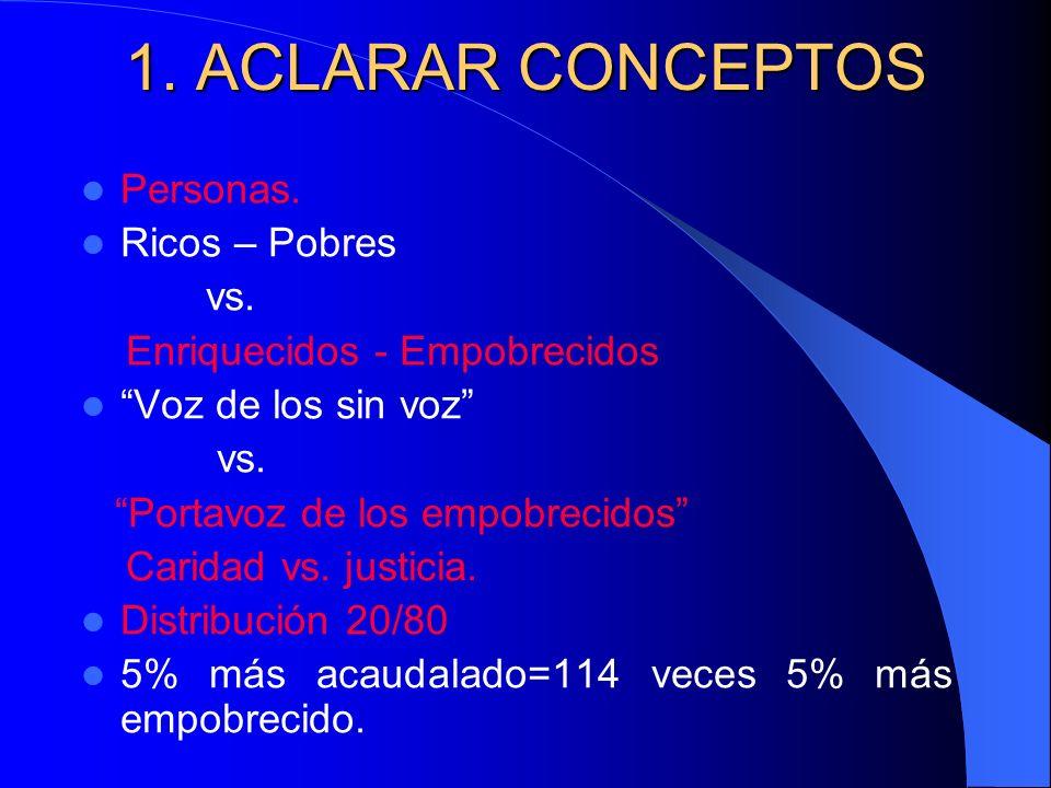 1. ACLARAR CONCEPTOS Personas. Ricos – Pobres vs.
