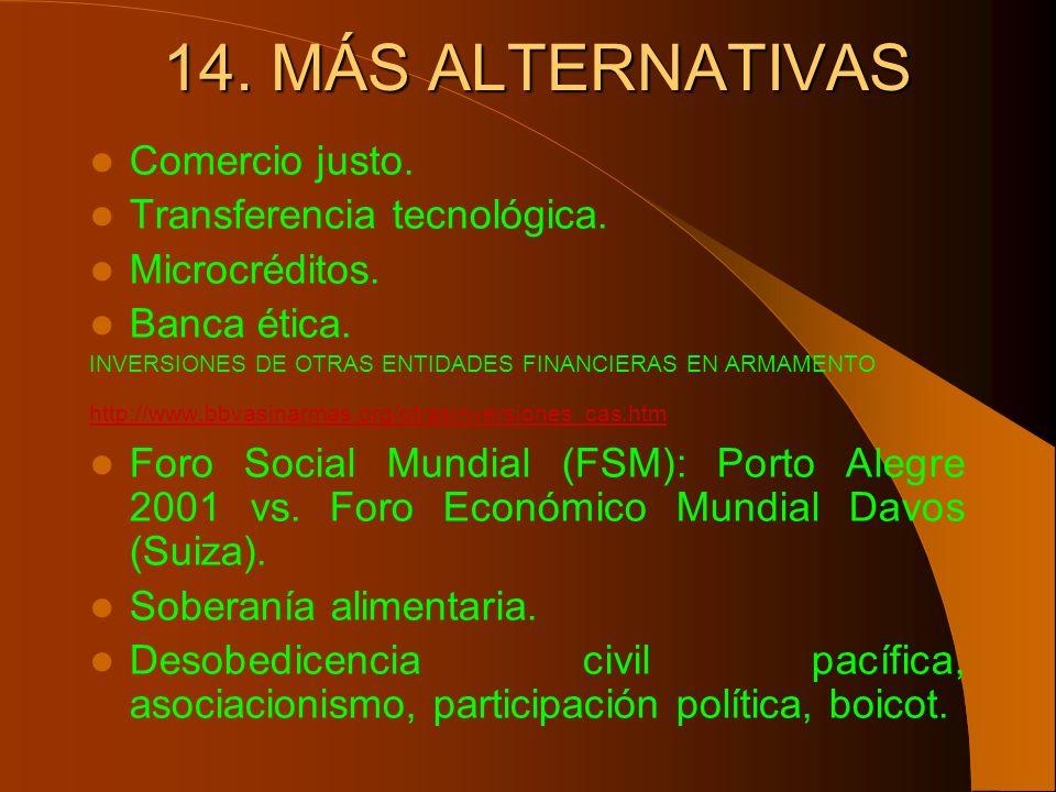 14. MÁS ALTERNATIVAS Comercio justo. Transferencia tecnológica.