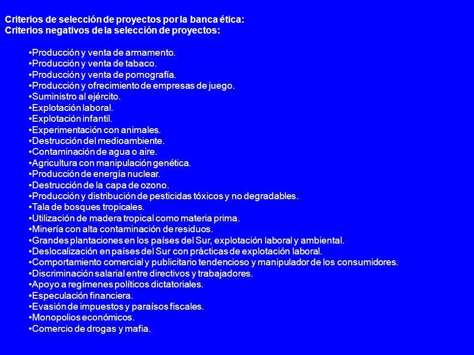 Criterios de selección de proyectos por la banca ética: