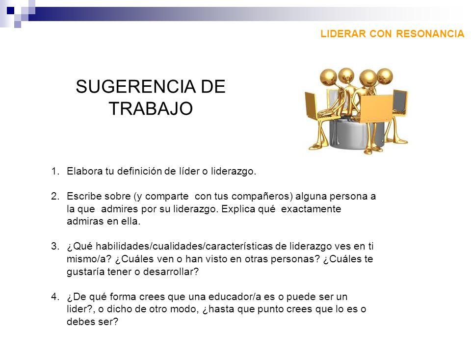 SUGERENCIA DE TRABAJO LIDERAR CON RESONANCIA