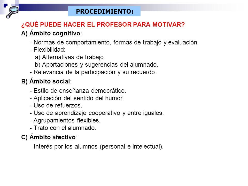 PROCEDIMIENTO: ¿QUÉ PUEDE HACER EL PROFESOR PARA MOTIVAR A) Ámbito cognitivo: - Normas de comportamiento, formas de trabajo y evaluación.