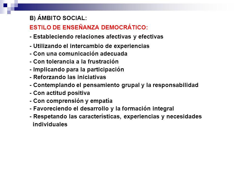 B) ÁMBITO SOCIAL: ESTILO DE ENSEÑANZA DEMOCRÁTICO: - Estableciendo relaciones afectivas y efectivas.
