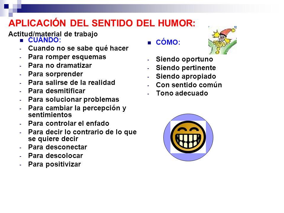APLICACIÓN DEL SENTIDO DEL HUMOR: Actitud/material de trabajo