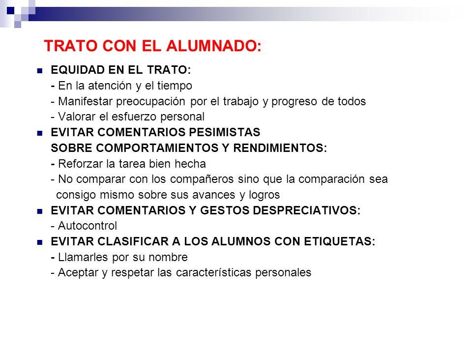 TRATO CON EL ALUMNADO: EQUIDAD EN EL TRATO: