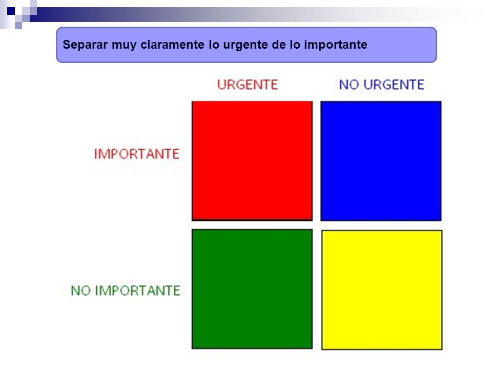 Separar muy claramente lo urgente de lo importante
