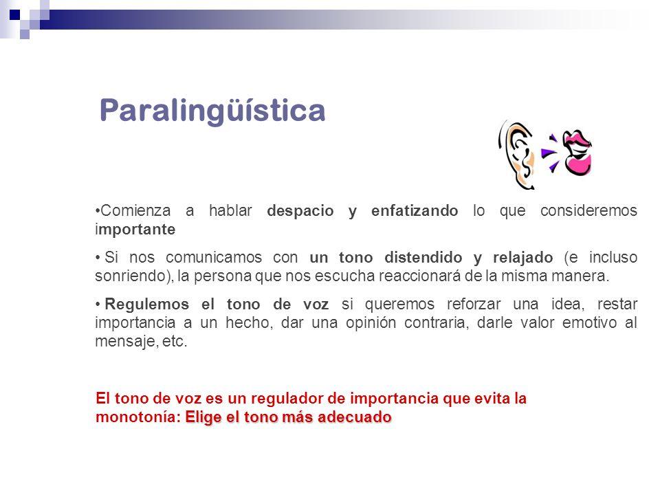 Paralingüística Comienza a hablar despacio y enfatizando lo que consideremos importante.