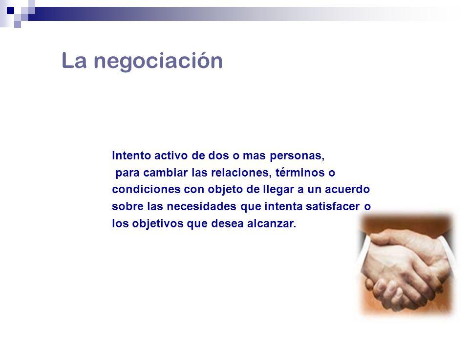 La negociación Intento activo de dos o mas personas,