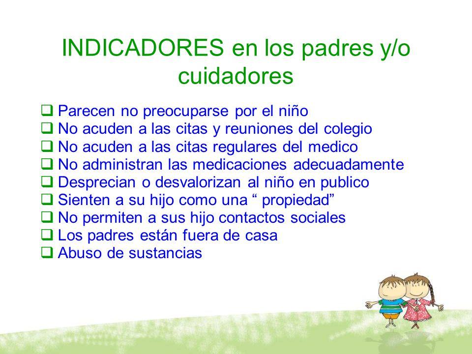 INDICADORES en los padres y/o cuidadores