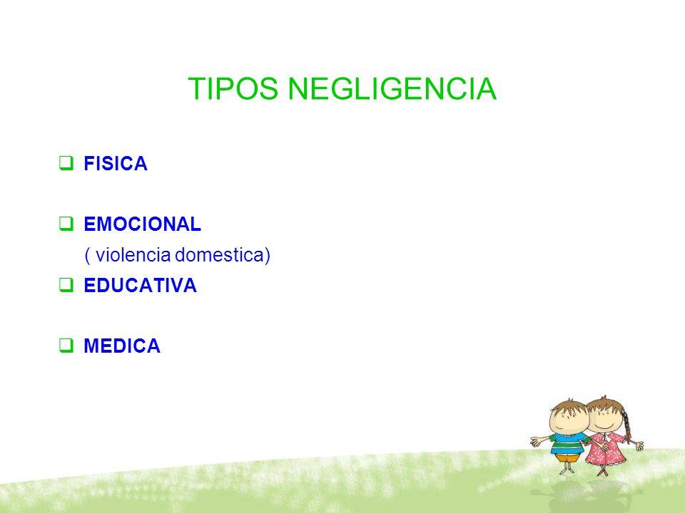 TIPOS NEGLIGENCIA FISICA EMOCIONAL ( violencia domestica) EDUCATIVA