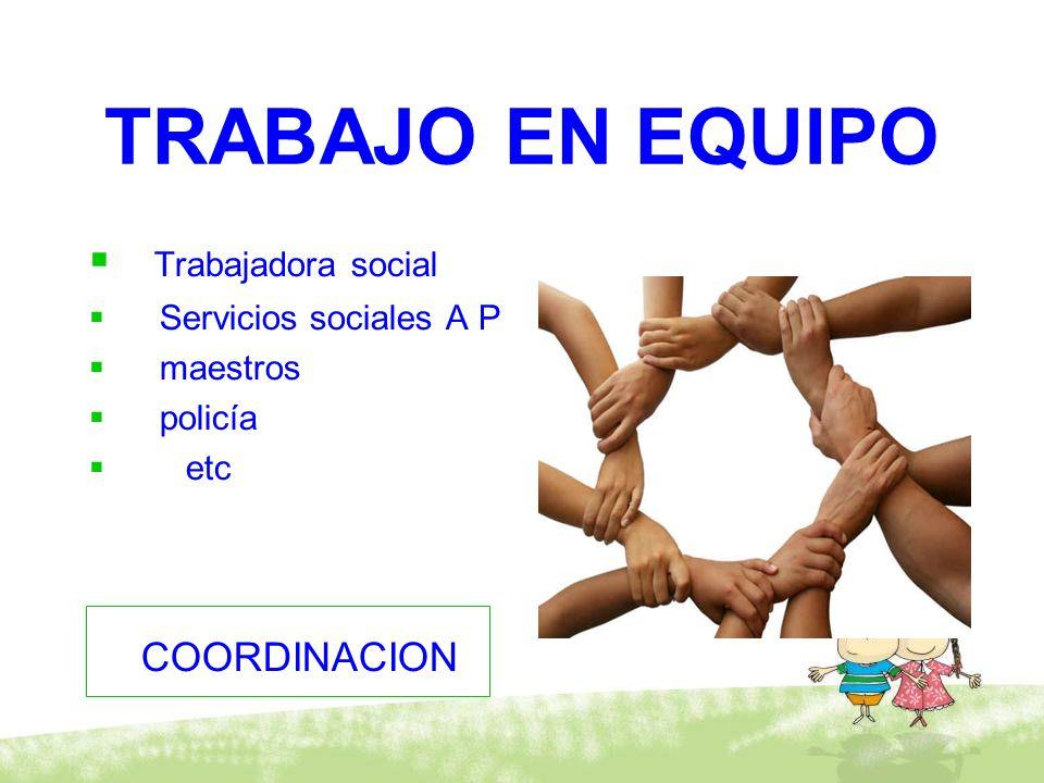 TRABAJO EN EQUIPO Trabajadora social COORDINACION