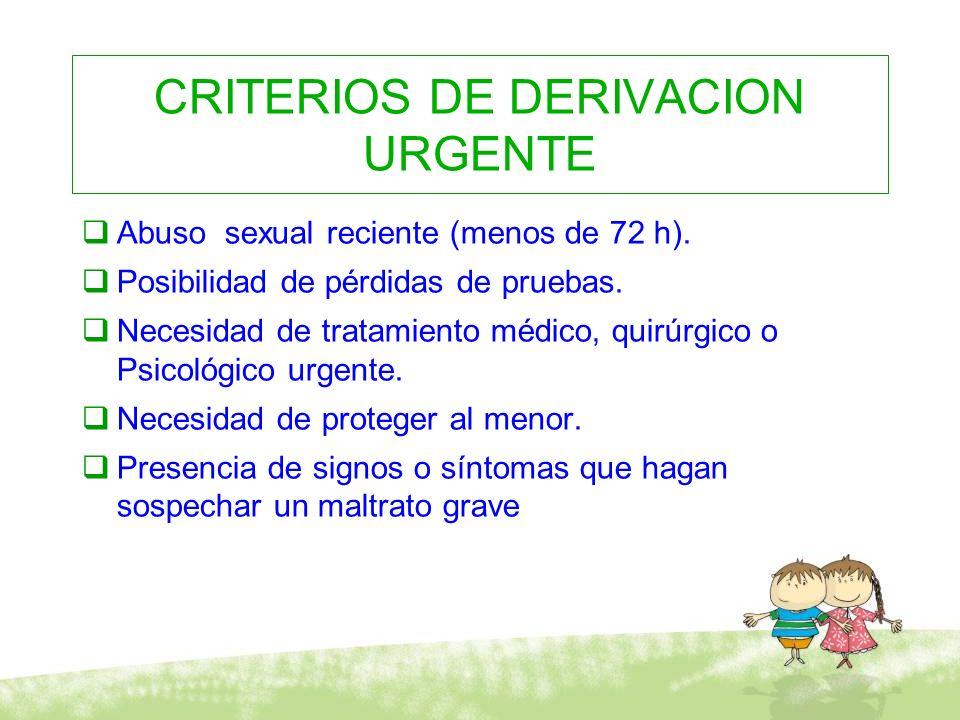CRITERIOS DE DERIVACION URGENTE