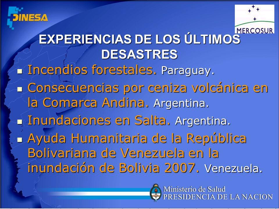 EXPERIENCIAS DE LOS ÚLTIMOS DESASTRES