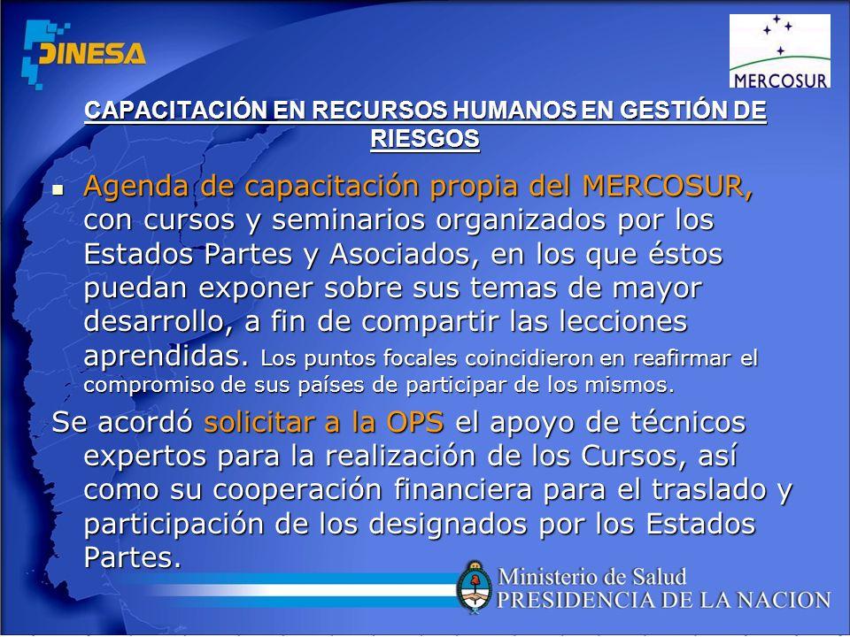 CAPACITACIÓN EN RECURSOS HUMANOS EN GESTIÓN DE RIESGOS