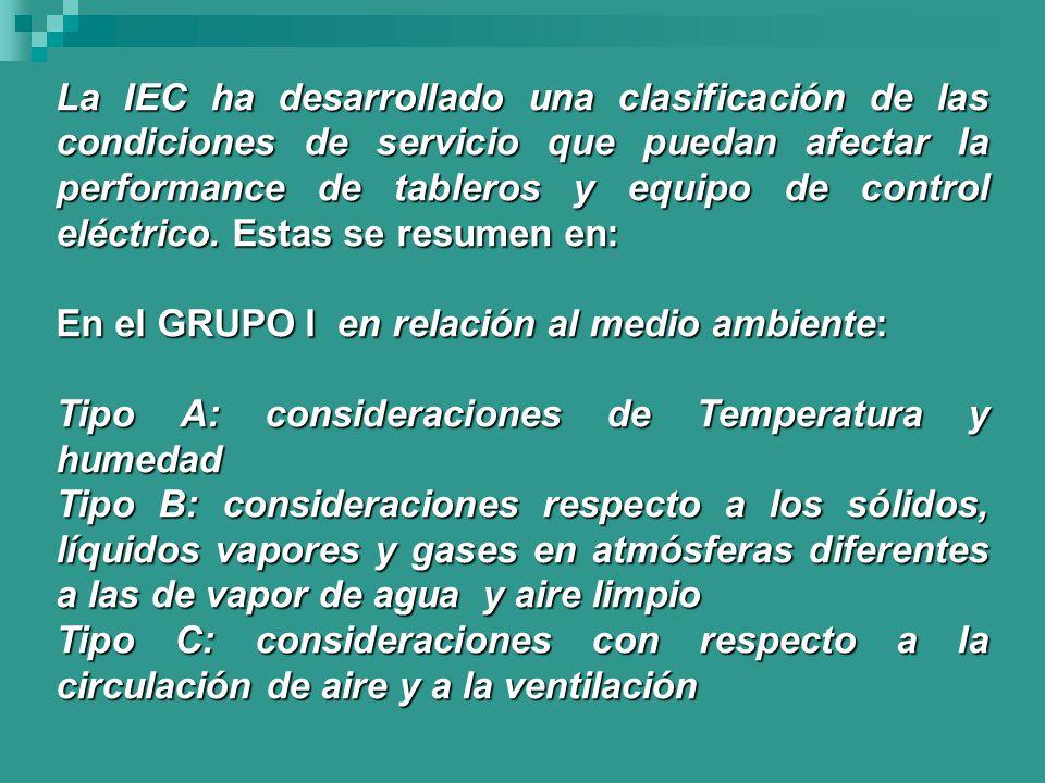 La IEC ha desarrollado una clasificación de las condiciones de servicio que puedan afectar la performance de tableros y equipo de control eléctrico. Estas se resumen en: