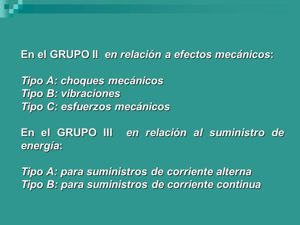 En el GRUPO II en relación a efectos mecánicos: