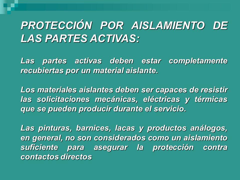 PROTECCIÓN POR AISLAMIENTO DE LAS PARTES ACTIVAS:
