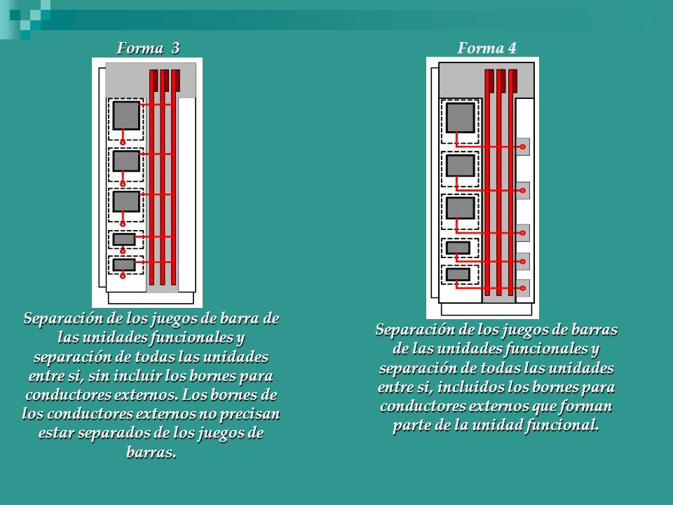 Separación de los juegos de barra de las unidades funcionales y separación de todas las unidades entre si, sin incluir los bornes para conductores externos. Los bornes de los conductores externos no precisan estar separados de los juegos de barras.