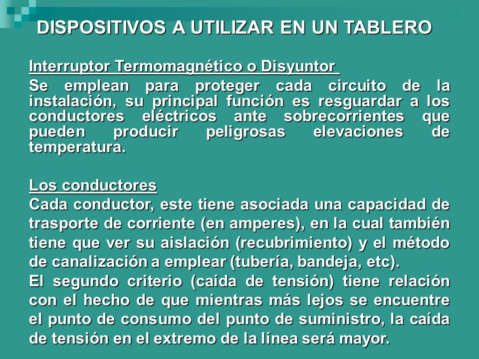 DISPOSITIVOS A UTILIZAR EN UN TABLERO