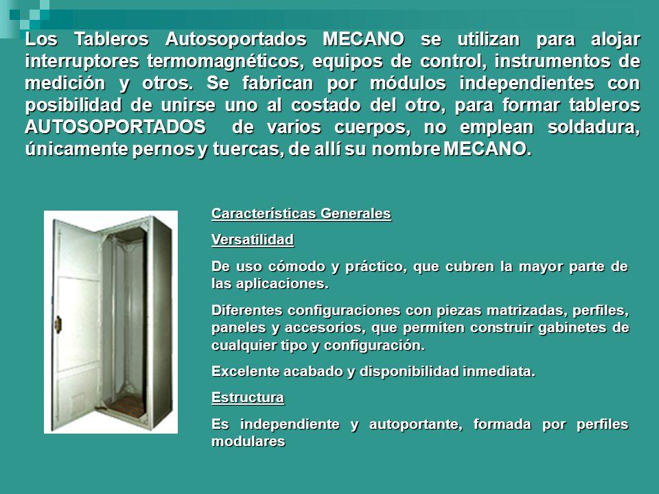 Los Tableros Autosoportados MECANO se utilizan para alojar interruptores termomagnéticos, equipos de control, instrumentos de medición y otros. Se fabrican por módulos independientes con posibilidad de unirse uno al costado del otro, para formar tableros AUTOSOPORTADOS de varios cuerpos, no emplean soldadura, únicamente pernos y tuercas, de allí su nombre MECANO.