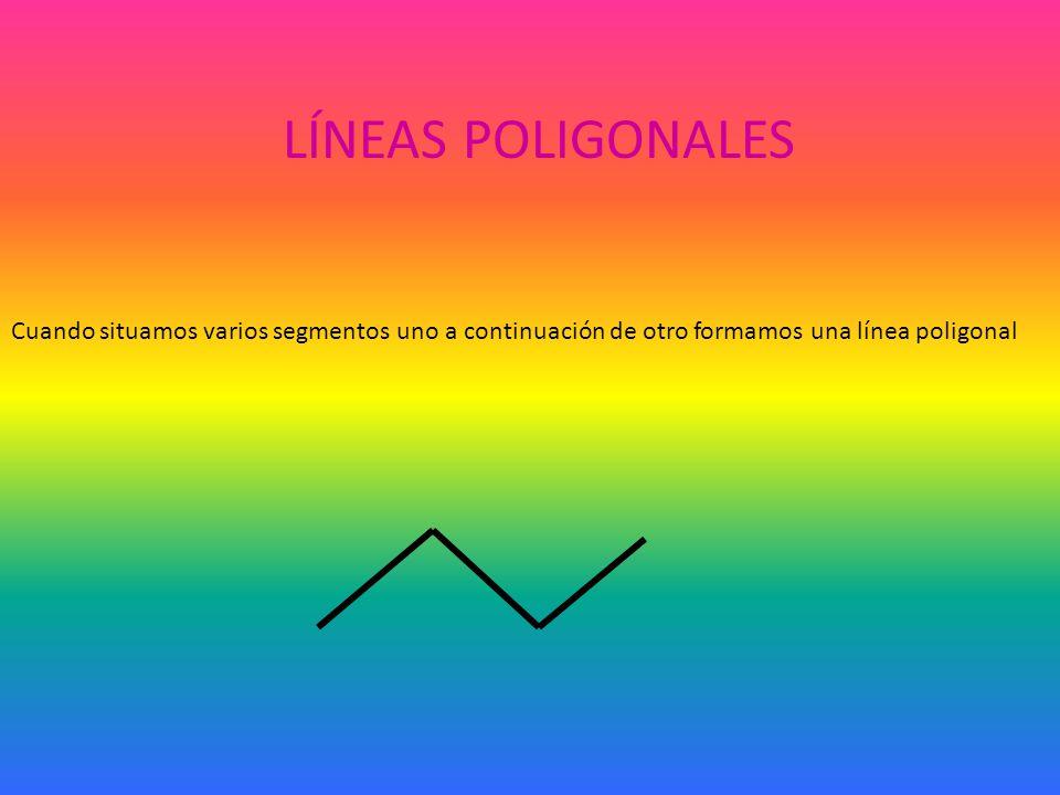 LÍNEAS POLIGONALES Cuando situamos varios segmentos uno a continuación de otro formamos una línea poligonal.