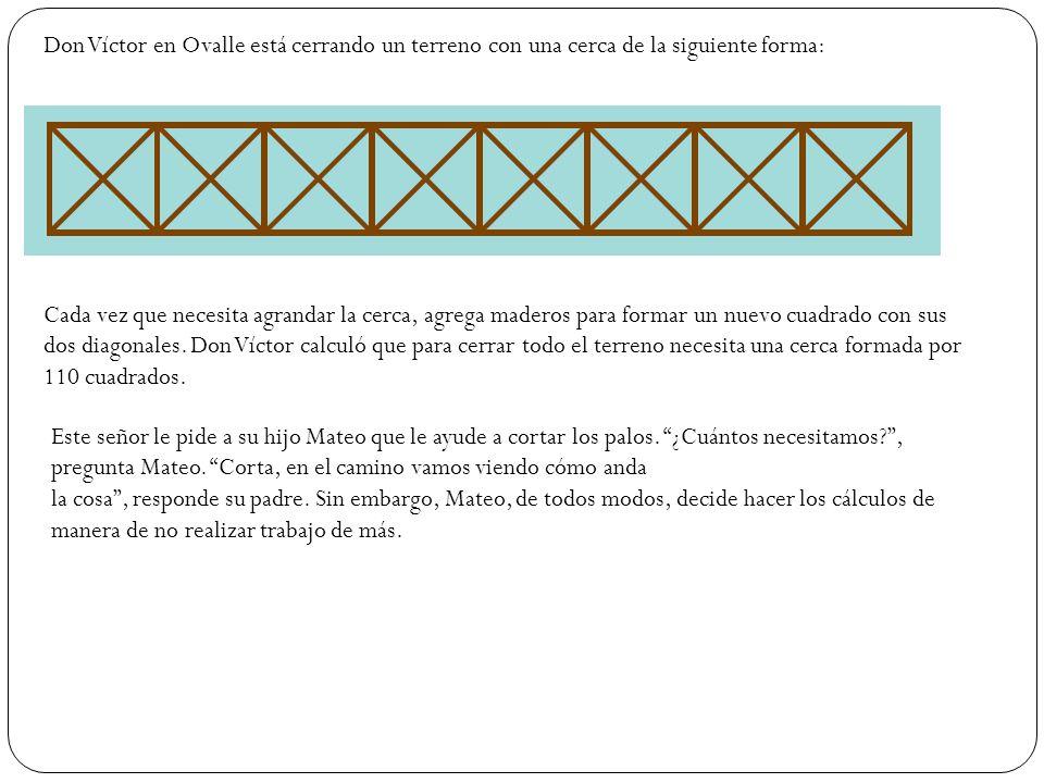 Don Víctor en Ovalle está cerrando un terreno con una cerca de la siguiente forma: