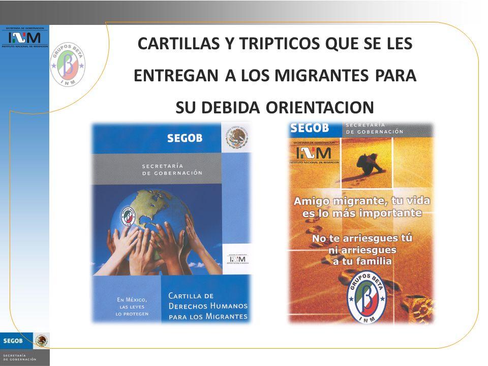 CARTILLAS Y TRIPTICOS QUE SE LES ENTREGAN A LOS MIGRANTES PARA SU DEBIDA ORIENTACION