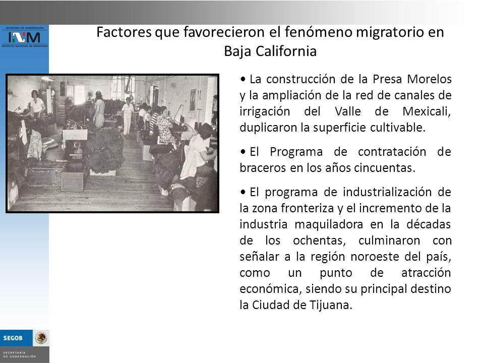 Factores que favorecieron el fenómeno migratorio en Baja California