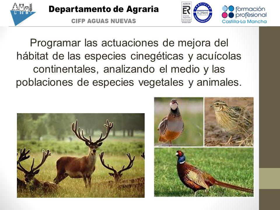 Programar las actuaciones de mejora del hábitat de las especies cinegéticas y acuícolas continentales, analizando el medio y las poblaciones de especies vegetales y animales.