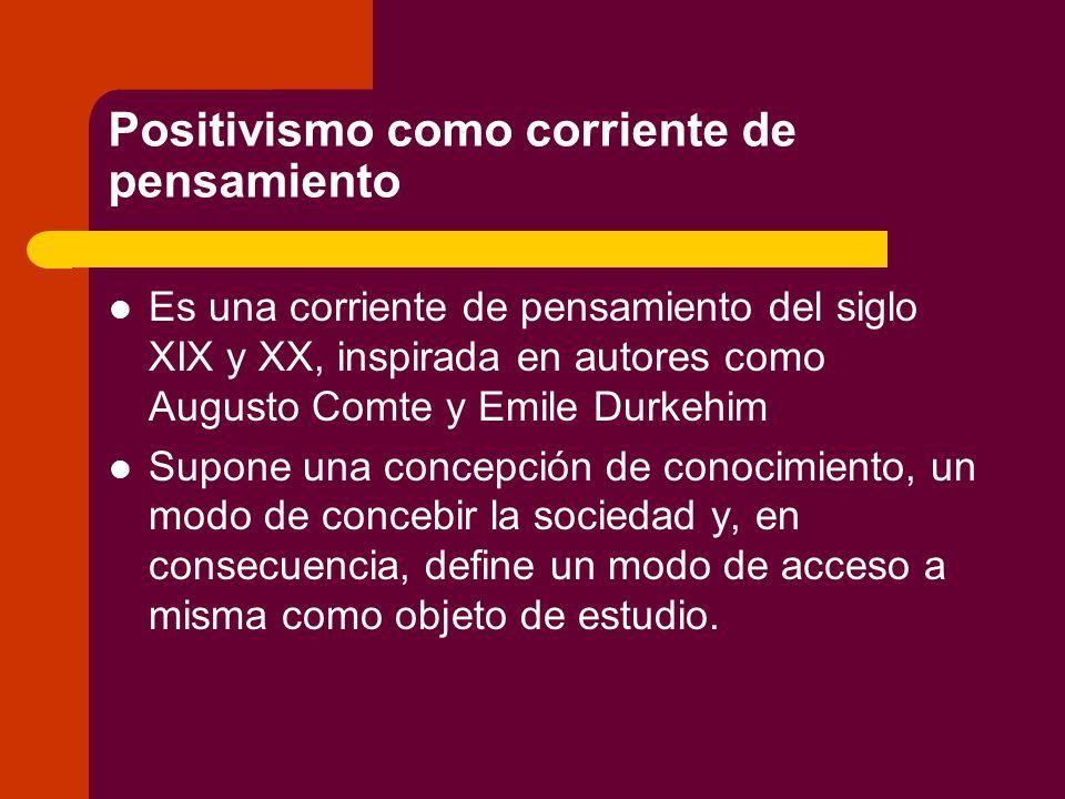 Positivismo como corriente de pensamiento
