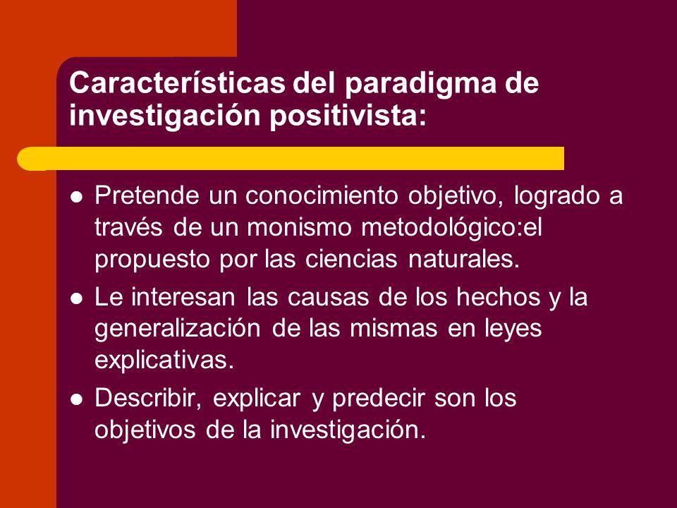 Características del paradigma de investigación positivista: