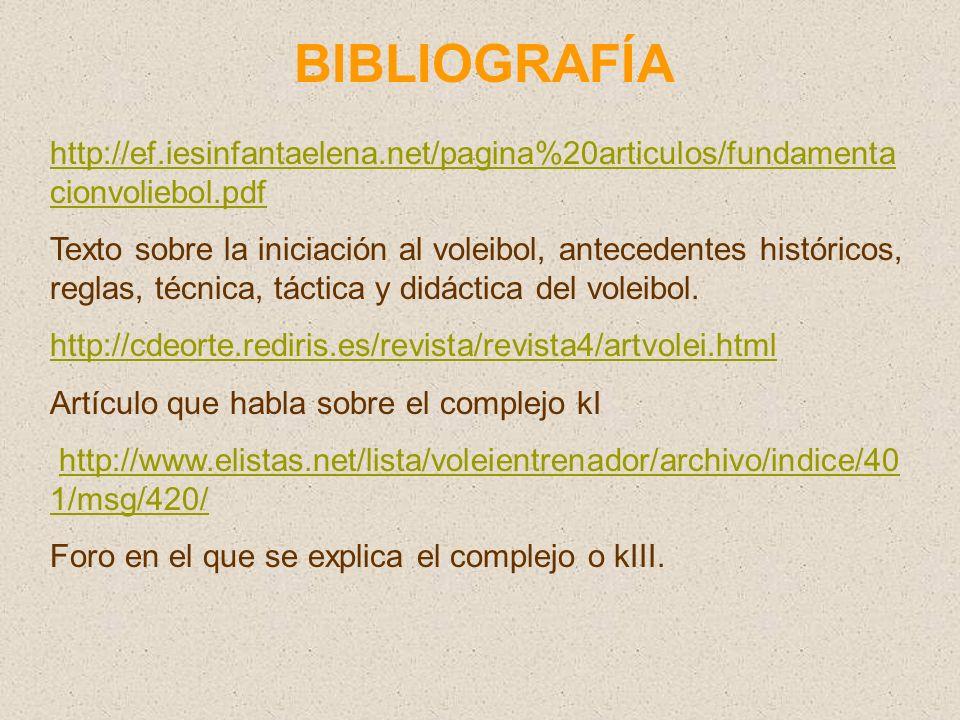 BIBLIOGRAFÍA http://ef.iesinfantaelena.net/pagina%20articulos/fundamentacionvoliebol.pdf.