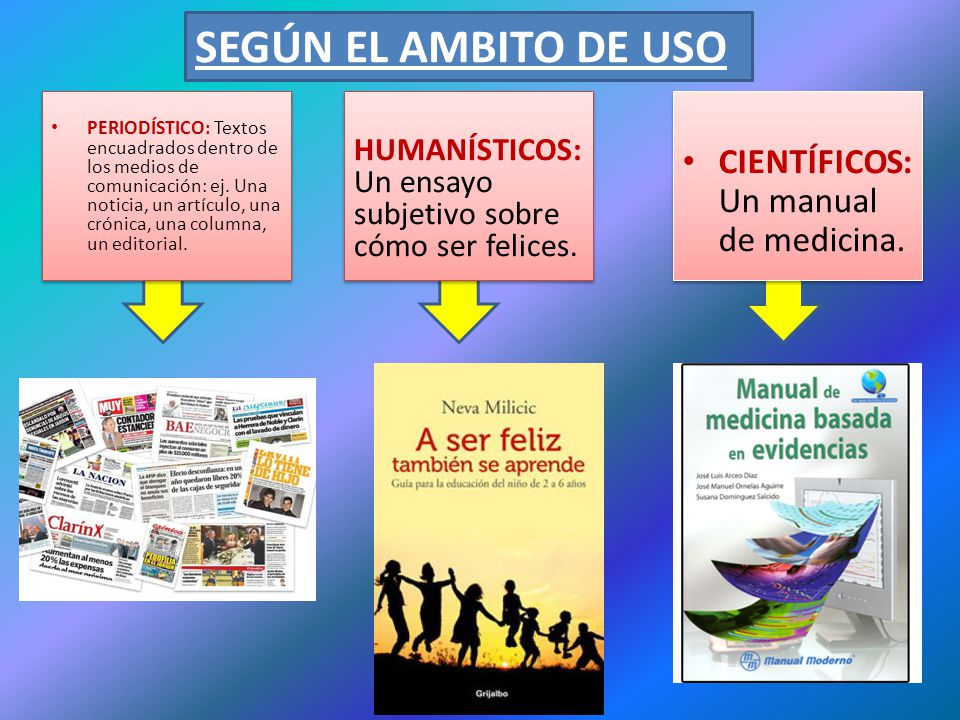 SEGÚN EL AMBITO DE USO CIENTÍFICOS: Un manual de medicina.