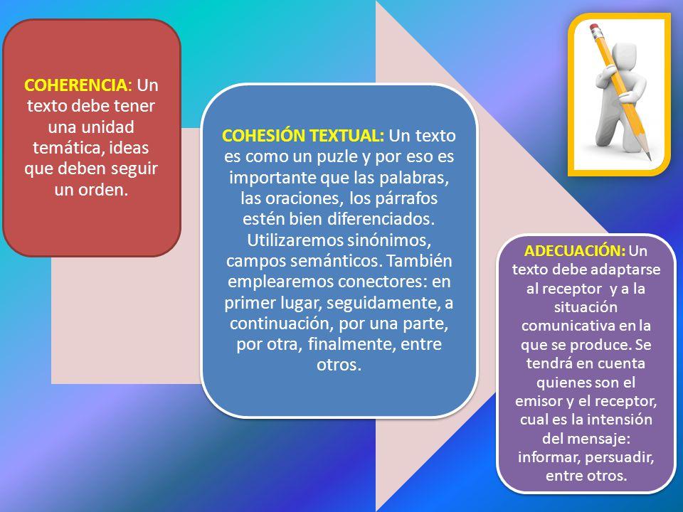 COHERENCIA: Un texto debe tener una unidad temática, ideas que deben seguir un orden.