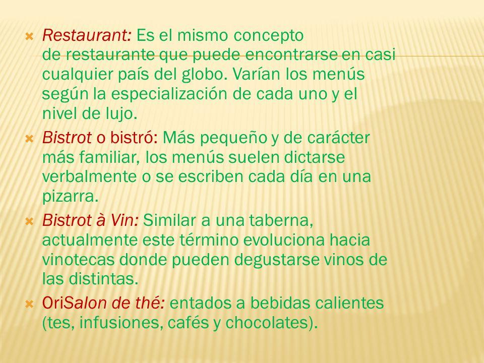 Restaurant: Es el mismo concepto de restaurante que puede encontrarse en casi cualquier país del globo. Varían los menús según la especialización de cada uno y el nivel de lujo.