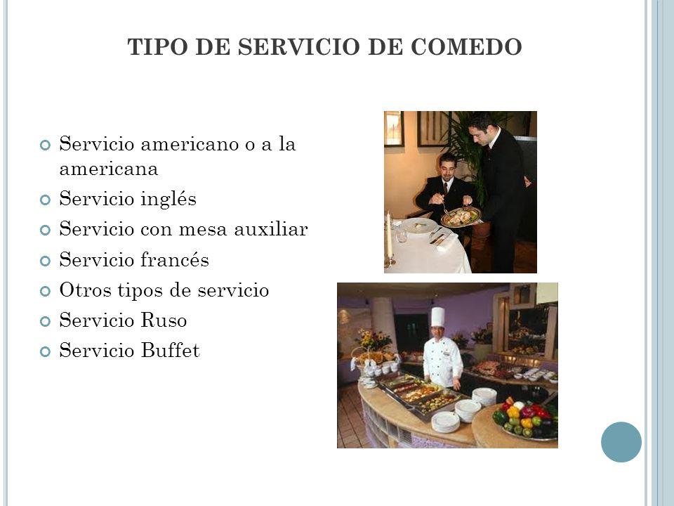 TIPO DE SERVICIO DE COMEDO
