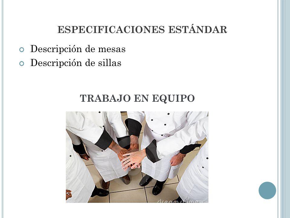 ESPECIFICACIONES ESTÁNDAR